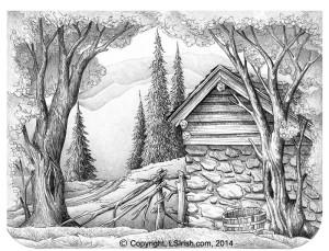 Lora Irish Stone Barn Drawing