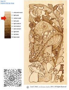 Pyrography Doodle Mushroom, step 12