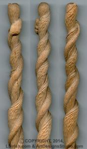 Sassafras Twisted Snake Cane Wood Carving