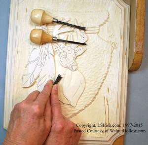 wood carving a deer