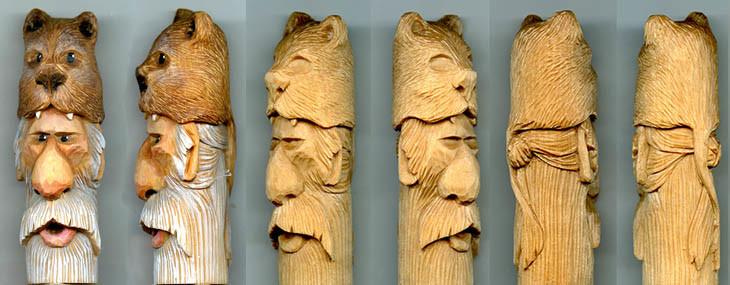 Wood spirit cane and walking stick carving lsirish