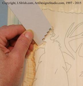 Using a depth gauge in wood carving