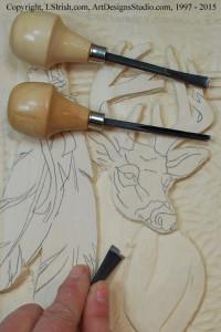 Shaping the Mule Deer body in wood carving