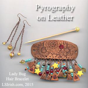 Lady Bug Pyrography Leather Hair Band