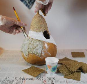 gourd decoupage bird house